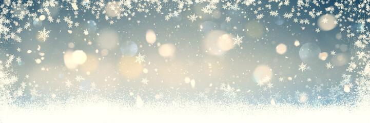 Schneeflocken und Schneesterne im winterlichen Licht - Banner | Backround