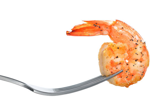 Cooked shrimp,prawn on fork isolated on white background