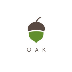 Illustration of oak tree acorn vector icon