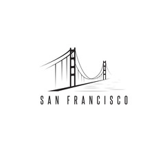 san francisco golden gate bridge vector design template illustra