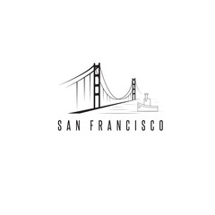 san francisco golden gate bridge vector design template illustra
