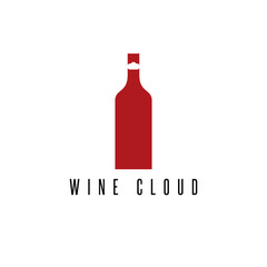 wine bottle with cloud vector design template