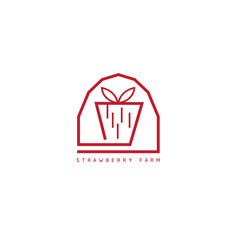 strawberry farm simple icon vector design template
