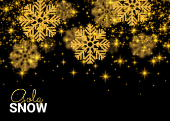 Abstract pattern on black background. Random Falling Gold Snowflakes. Glitter for banner, greeting, Christmas and New Year card, invitation, postcard, paper packaging. Vector illustration