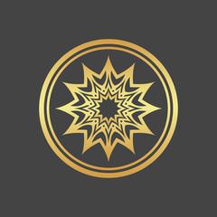 Abstract element for design, gold flower, star, mandala, decoration