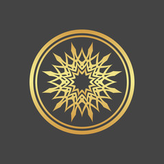 Abstract element for design, gold flower, star, mandala, decoration