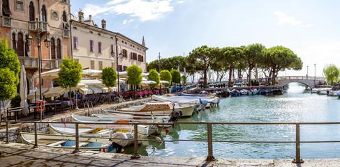 Marina in Desenzano town at Lake Garda in Italy Wall mural