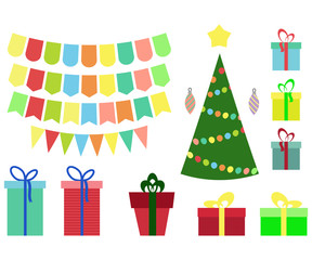 Christmas and New year set, gift box,ball, balloon,tags, flags, in flat style