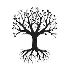 Black vector Tree and Roots. Vector Illustration. Park and Natur