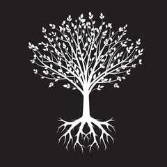 White vector Tree and Roots. Vector Illustration. Park and Natur