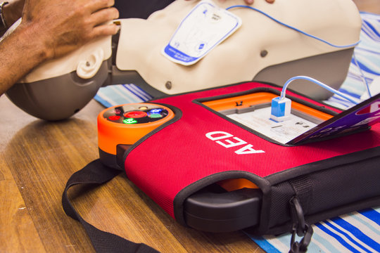 cpr with aed training  and blur background