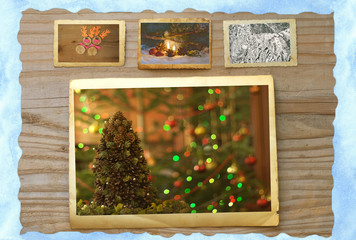 Christmas background with Christmas tree ice snow and reindeer p
