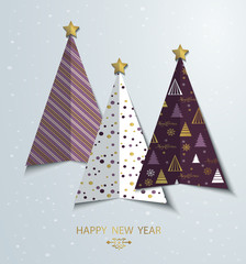 Colorful sylized Christmas tree greeting card background. New Year design template. Vector Merry Christmas tree shape with gold star.