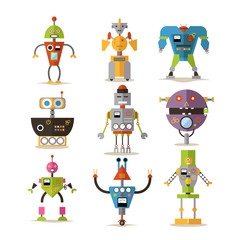 Vector set of robots isolated on white background, flat style
