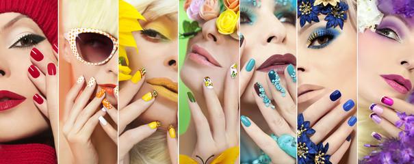 Радужный разноцветный макияж и маникюр на ногтях с различным дизайном на девушке для любого время года.
