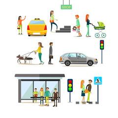 Vector set of street traffic concept design elements, flat style