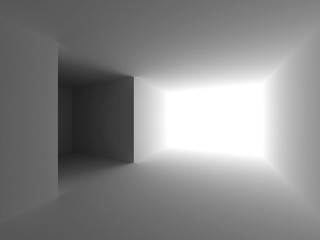 White empty interior. Abstract architecture background