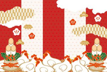 2017年賀 紅白 雲 鶏
