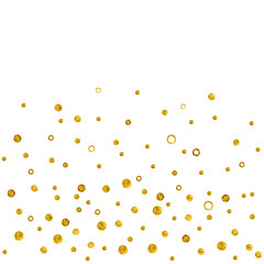 Greeting time. Gold colors dots like snowfall. Watercolor hand painted isolated on white ...