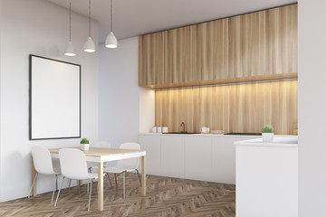 Side view of a kitchen countertop with light wood furniture
