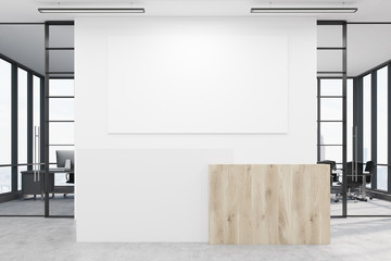 Office lobby with blank poster and two conference rooms by its s