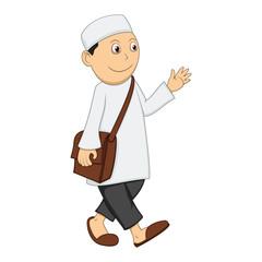 Muslim man walk, smile and wave his hand