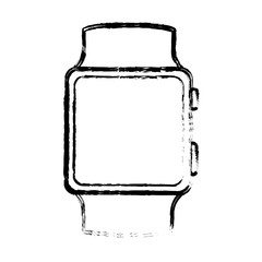 silhouette of smart watch icon over white background. wearable technology devices design. vector illustration