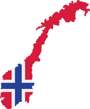 Norway map with flag