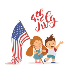 Vector 4 july US independence day sign. Children with flag.