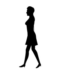 silhouette woman with dress walking vector illustration eps 10