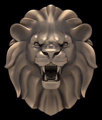 Lion's Head. Artistic sculpture of a lion head, isolated on black background. 3D rendered image.