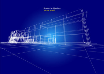 city view, architecture abstract, 3d illustration vector