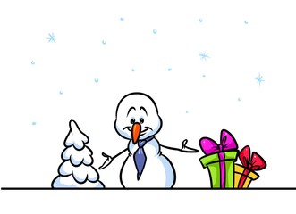 Christmas snowman character holiday offer cartoon illustration isolated image
