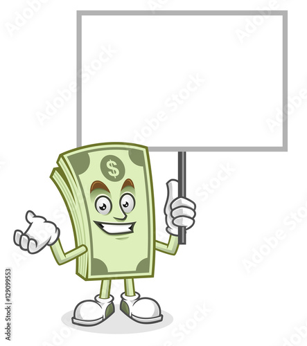 Blank sign Dollar bill mascot, Money character, Dollar cartoon ...