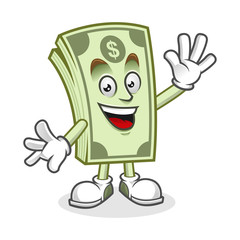 Greeting Dollar bill mascot, Money character, Dollar cartoon