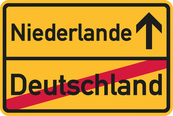 Migration from germany to netherlands - german town sign