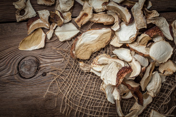 Dried wild mushrooms.