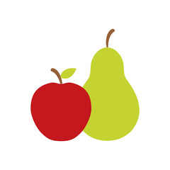 pear and apple fruit icon image vector illustration design