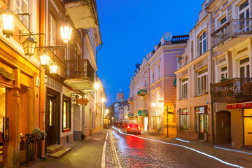 Gediminas Tower or Upper Castle as viewed from Pilies Street at night, Old Town of Vilnius, Lithuania, Baltic states.
