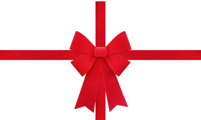 Large red Christmas bow isolate on white background