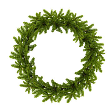 traditional green christmas wreath isolated on white background.