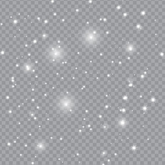 Falling Snow with Snowflakes on Transparent Background   Winter Snowfall Vector Illustration
