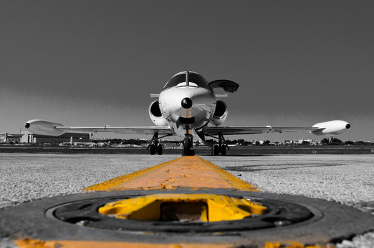 LUQUA, MALTA - NOVEMBER 2015 A Learjet 35A parked on the apron waiting for passengers.