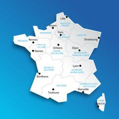 Carte de France 13 régions (nouveaux noms)