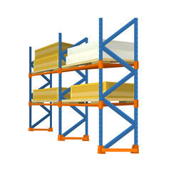 Warehouse Racks Loaded With Boxes And Crates