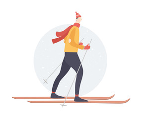 Winter sports - skiing. Cartoon skier works. Man on skis. Vector illustration on a light background.