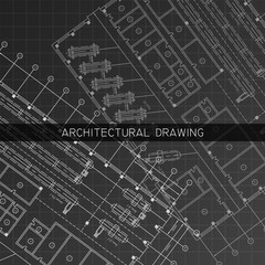 Architectural drawing. Architectural plan in vector on a black background.