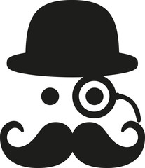 Mustache with eye monocle and bowler