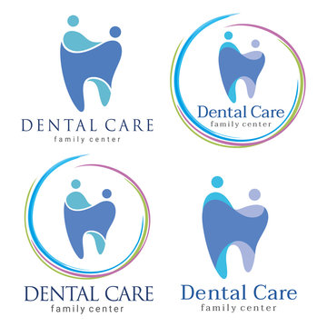 family dental. Abstract Vector illustration of teeth. Dental logo. Family dental clinic. Family dental logo icon vector