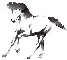 black and white monochrome painting with water and ink draw horse illustration